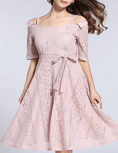 8fa82d6345f2 Women s Party   Daily   Going out Vintage   Casual Lantern Sleeve Swing  Dress - Solid Colored Lace Boat Neck Summer Lace Black Pink Khaki L XL XXL    Club ...