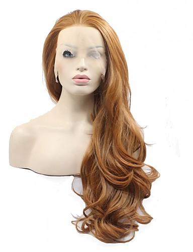preiswerte Premium Perücken aus synthetischer Spitze-Synthetische Perücken Natürlich gewellt Natürlich gewellt Vollspitze Perücke Rotbraun Synthetische Haare Damen Braun