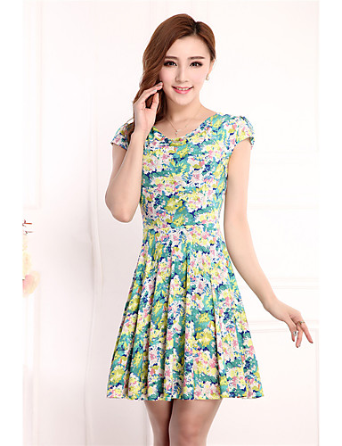 Women's Daily Going out Loose Dress,Floral Round Neck Above Knee Short Sleeves Others Summer High Rise Stretchy Thin