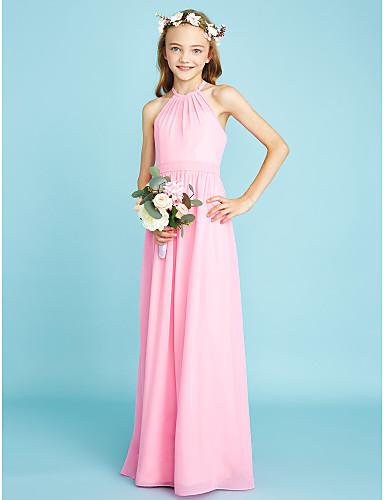 cheap Clearance-A-Line Halter Neck Floor Length Chiffon Junior Bridesmaid Dress with Sash / Ribbon / Natural