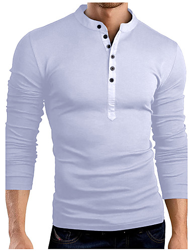 cheap Henley Shirts-Men's Birthday T-shirt Graphic Solid Colored Long Sleeve Slim Tops Cotton Basic Stand Collar White Black Army Green / Spring / Fall