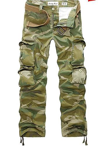 levne Vánoce-Pánské Aktivní / Základní / Armáda Denní Volné / Náprsníkové kalhoty Kalhoty - maskování Světle zelená 38 42 44