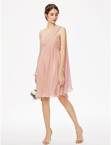 preiswerte Staubige Rose-A-Linie Ein-Schulter Knie-Länge Chiffon Brautjungfernkleid mit Plissee Gerafft Überkreuzte Rüschen durch LAN TING BRIDE®