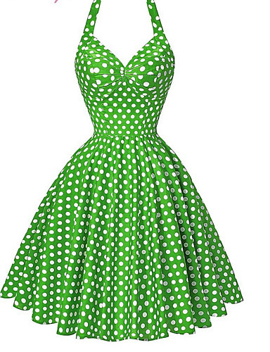 preiswerte Vintage Ladies-Damen Festtage Strand Retro Baumwolle Hülle Swing Kleid - Druck, Punkt Knielang Gurt