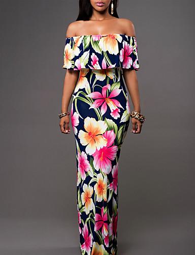 levne Maxi šaty-Dámské Větší velikosti Dovolená Cikánský Tulipánový rukáv Pouzdro Šaty - Květinový, Volány Maxi Pod rameny / Štíhlý