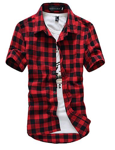 voordelige Herenoverhemden-Heren Chinoiserie Overhemd Katoen, Strand Ruitjes Klassieke boord Zwart / Korte mouw