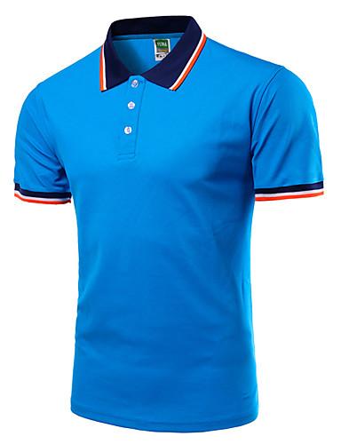 levne Pánská polo trika-Pánské - Jednobarevné Aktivní Větší velikosti Polo Košilový límec Štíhlý Černá / Krátký rukáv / Jaro