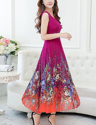preiswerte Ausverkauf-Damen Übergrössen Festtage Chiffon Swing Kleid - Druck, Blumen Midi V-Ausschnitt