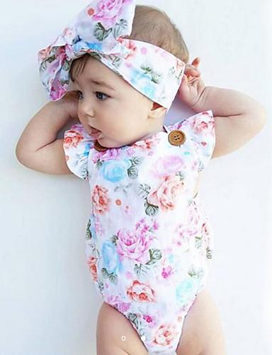 preiswerte Die besten Strampelanzüge-Baby Mädchen Blumig Modisch / Vintage Druck Ärmellos Baumwolle Body Weiß