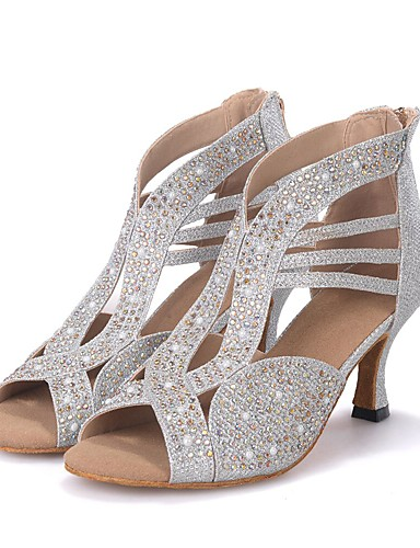 cheap Latin Shoes Best Seller-Women's Dance Shoes Sparkling Glitter Latin Shoes / Salsa Shoes Rhinestone / Sparkling Glitter Sandal / Heel Flared Heel Customizable Black / Silver / Golden / Performance / Leather / Professional