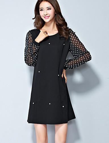 585635bade Mujer Gasa Vestido Casual Diario Tallas Grandes Vintage Simple