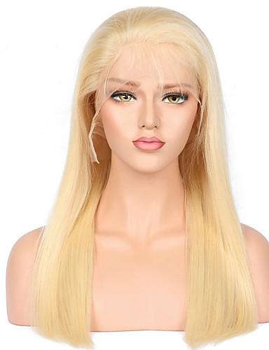 preiswerte Blonde Lace Wigs-Cabello Natural Remy Vollspitze Perücke Stil Brasilianisches Haar Glatt Perücke 130% Haardichte mit Babyhaar Natürlicher Haaransatz Afro-amerikanische Perücke 100 % von Hand geknüpft Damen Mittlerer