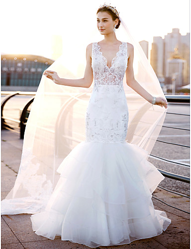 Mermaid / Trumpet V Neck Sweep / Brush Train Lace / Tulle Made-To-Measure Wedding Dresses Lace / Side-Draped LAN TING BRIDE® / Open Back