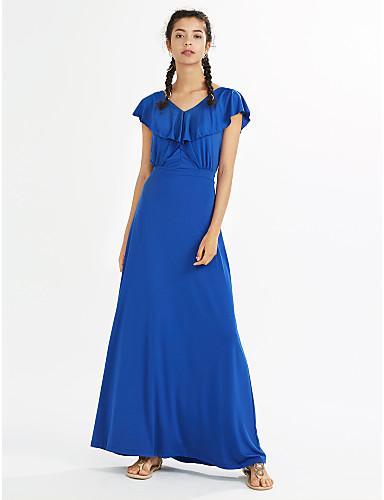 40407b97c86 [$22.76] Women's Ruffle Plus Size Party Beach Boho Maxi Sheath Dress -  Solid Colored Ruffle V Neck Summer Navy Blue Gray Royal Blue XL XXL XXXL