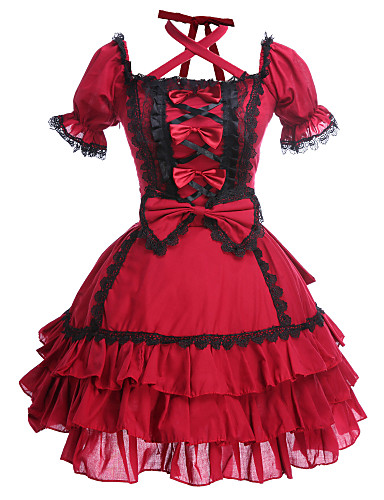 cheap Lolita Dresses-Princess Gothic Lolita Dress Women's Girls' Cotton Japanese Cosplay Costumes Plus Size Customized Red Ball Gown Patchwork Puff / Balloon Sleeve Short Sleeve Mini