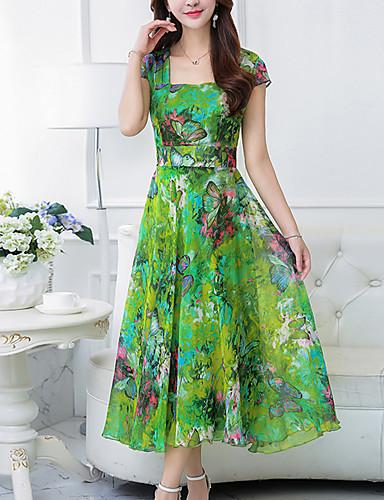 voordelige Maxi-jurken-Dames Grote maten Uitgaan Boho Chiffon Wijd uitlopend Jurk - Bloemen, Print Vierkante hals Maxi