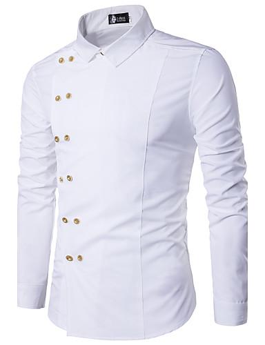 preiswerte Ausverkauf-Herrn Solide - Freizeit Baumwolle Hemd, Klassischer Kragen Schlank Schwarz / Langarm / Frühling / Herbst
