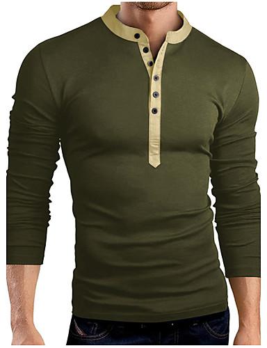 voordelige Heren T-shirts & tanktops-Heren Standaard T-shirt Katoen Effen Opstaand Slank Grijs / Lange mouw / Lente / Herfst