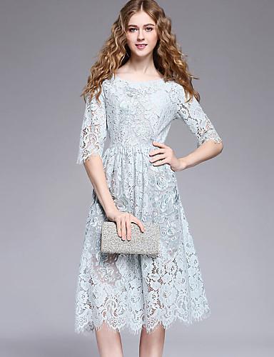 2dd33431cb30a Kadın Dışarı Çıkma Sevimli Günlük sofistike A Şekilli Kılıf Dantel Elbise  Solid Nakışlı Yuvarlak Yaka Midi Polyester Yaz Normal Bel 5942408 2019 –  $58.99