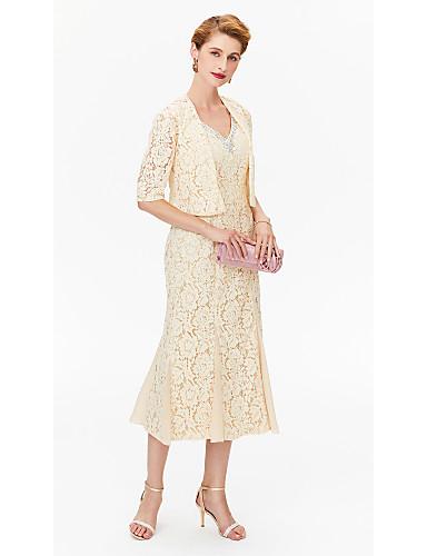 voordelige Wrap Dresses-Strak / kolom V-hals Over de knie Chiffon / All Over Lace Bruidsmoederjurken met Kralen / Kristaldetails door LAN TING BRIDE®