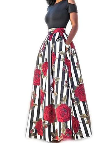levne Maxi šaty-Dámské Dovolená Bavlna Dvoudílné Šaty - Proužky Květinový, Tisk Maxi