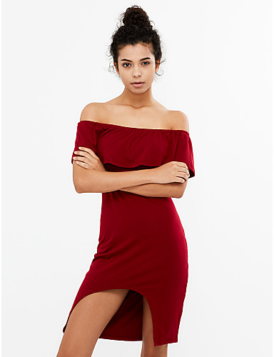 e4435499a988 Women s Off Shoulder Party Asymmetrical Bodycon Dress - Solid Colored Ruffle  Boat Neck Summer Black Navy Blue Wine M L XL 5568997 2019 –  19.79
