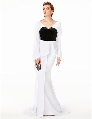 e4f039ada461 Τρομπέτα   Γοργόνα Λαιμόκοψη V Ουρά Σιφόν   Βελούδο Μπλοκ χρωμάτων   Στυλ  Διασήμων Κοκτέιλ Πάρτι   Επίσημο Βραδινό Φόρεμα με Πλισέ με TS Couture®  5955384 ...