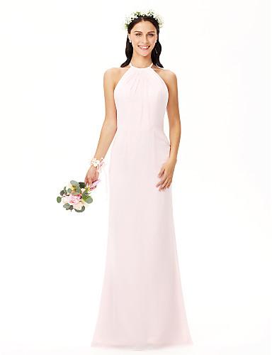 preiswerte Romatisches Rosa-Eng anliegend Schmuck Boden-Länge Chiffon Brautjungfernkleid mit Plissee durch LAN TING BRIDE®