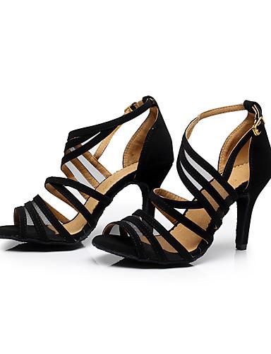 cheap 11.11 - Latin Shoes Under $30-Women's Dance Shoes Flocking Buckle Sandal Stiletto Heel Customizable Black / Practice / EU42