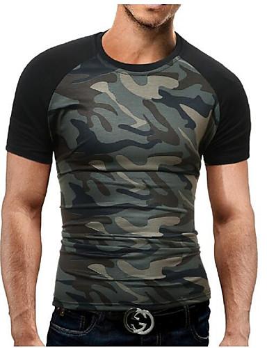 preiswerte Militär-Herrn camuflaje - Militär Sport Übergrössen Baumwolle T-shirt, Rundhalsausschnitt Schlank Druck Schwarz / Kurzarm / Sommer