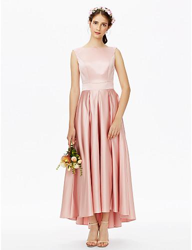 preiswerte Romatisches Rosa-A-Linie Bateau Hals Asymmetrisch Satin Brautjungfernkleid mit Schärpe / Band Plissee durch LAN TING BRIDE®