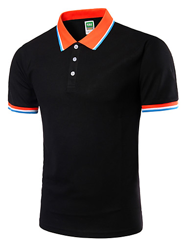 cheap Men's Plus Sizes-Men's Plus Size Solid Colored Slim Polo Active Daily Going out Weekend Shirt Collar White / Black / Green / Royal Blue / Light gray / Spring / Short Sleeve