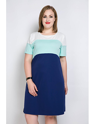 levne Šaty velkých velikostí-Dámské Větší velikosti Dovolená Shift / Tričko / Tunika Šaty - Barevné bloky / Patchwork Délka ke kolenům