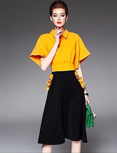 4a744f737 Mujer Casual Diario Primavera Verano Camisa Vestidos Trajes