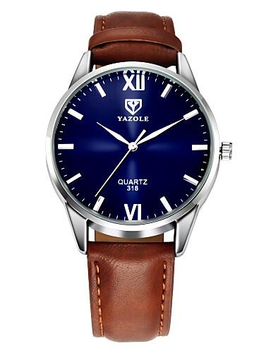 preiswerte YAZOLE®-YAZOLE Herrn Uhr Armbanduhr Leder Schwarz / Braun Armbanduhren für den Alltag Analog Klassisch Freizeit Einfache Uhr Schwarz Braun / Ein Jahr