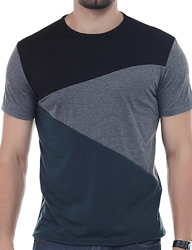 preiswerte Ausverkauf-Herrn Solide / Patchwork - Aktiv T-shirt Blau / Kurzarm