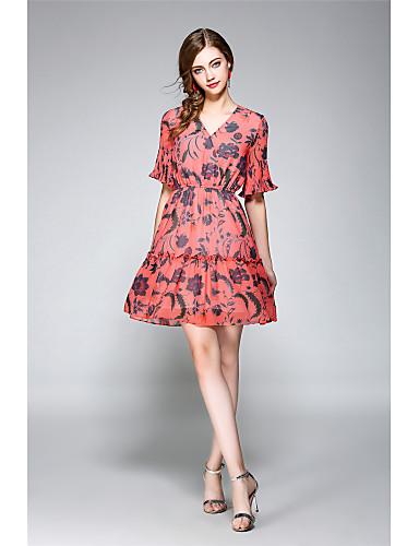e8c4455964d72 Kadın's Tatil Dışarı Çıkma Vintage Sokak Şıklığı Flare Kol A Şekilli Şifon  Elbise - Çiçekli V Yaka Diz üstü 5901790 2019 – $42.99