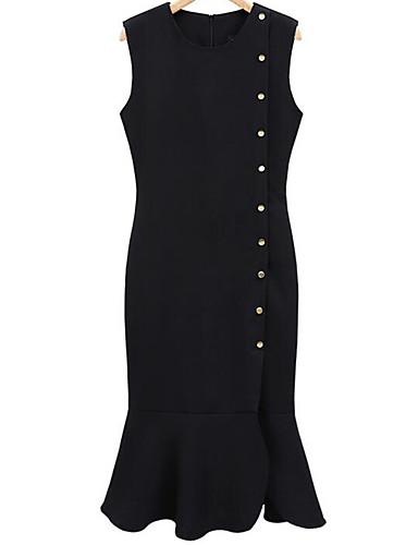 levne Pracovní šaty-Dámské Větší velikosti Jdeme ven Pouzdro Šaty - Jednobarevné Midi Černá