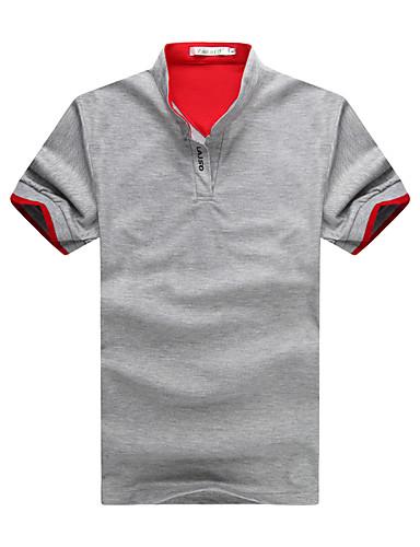 voordelige Heren T-shirts & tanktops-Heren Polo Katoen Effen Opstaand Slank Zwart / Korte mouw / Lente / Zomer