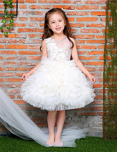 8491ca80ca4 Ball Gown Knee Length Flower Girl Dress - Lace   Satin   Tulle Sleeveless  Jewel Neck with Bowknot   Beading   Appliques by LAN TING BRIDE® 6023778  2019 – ...
