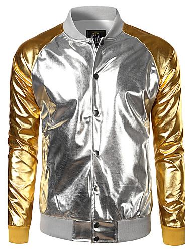 preiswerte Einfarbig-Herrn Alltag Frühling / Herbst / Winter Standard Jacke, Einfarbig Hemdkragen Langarm Polyester Gold / Silber