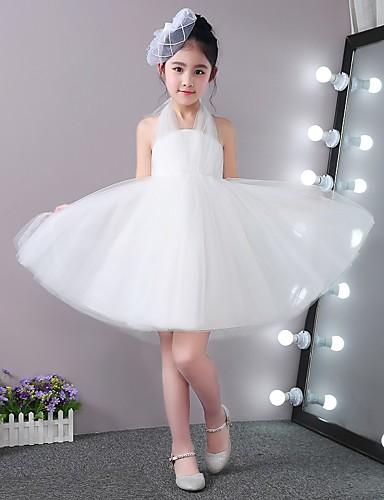 c7df51d2 Prinsesse kort / mini blomst jente kjole - stick-satin tulle ermeløs halter  med blonder opp 6023765 2019 – $59.99