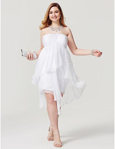 voordelige Grote maten jurken-Strak / kolom Illusie Hals Asymmetrisch Chiffon Schoolfeest Jurk met Kralen / Ruches door TS Couture® / Cocktailparty
