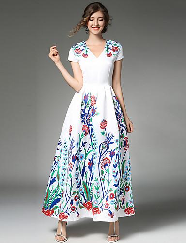 preiswerte MAXLINDY®-Damen Ausgehen Retro / Street Schick / Anspruchsvoll A-Linie Kleid Patchwork Maxi V-Ausschnitt