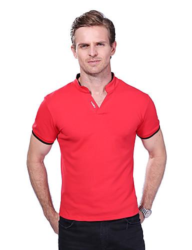 levne Pánská polo trika-Pánské - Jednobarevné / Písmeno Větší velikosti Polo Bavlna Do V Černá / Krátký rukáv / Léto