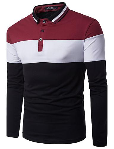 voordelige Uitverkoop-Heren Actief / Street chic Polo Kleurenblok Overhemdkraag Slank Zwart & Wit Rood / Lange mouw