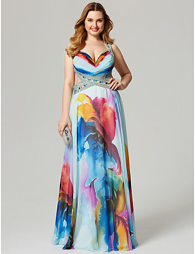 preiswerte Kleider in Übergröße-A-Linie Sweetheart Boden-Länge Chiffon Schöner Rücken / See Through Abiball Kleid mit Perlenstickerei / Muster / Druck durch TS Couture®