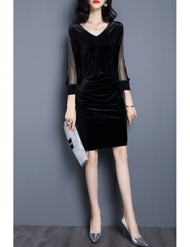 222a8cc75b5d6 Women s Velvet Plus Size Daily Classic   Timeless Loose Bodycon Dress -  Solid Colored Classic Style Summer Black Gray XL XXL XXXL 6012552 2019 –   20.99