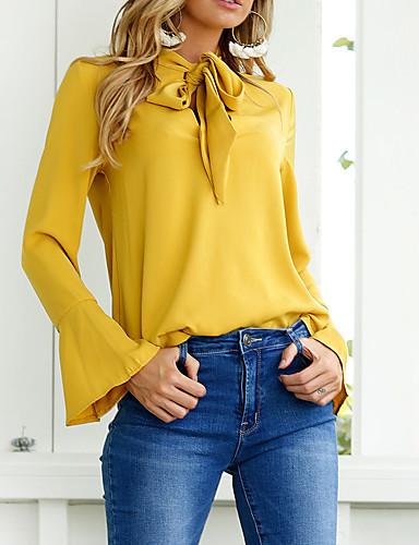 billige Skjorter til damer-Bomull Skjorte Dame - Ensfarget Svart / Høst / Vinter