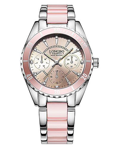 cheap Bracelet Watches-Women's Bracelet Watch Wrist Watch Quartz Stainless Steel Ceramic White / Pink 30 m Water Resistant / Waterproof Creative Glow in the Dark Analog Ladies Charm Luxury Casual Bangle - White Pink Two